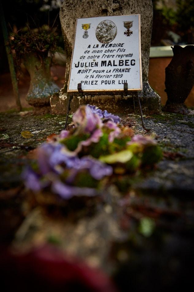 Fajoles, fils de paysan, Julien est fait prisonnier en mars 15 à Perthes les Hurlus, il meurt de maladie lors de son rapatriement.